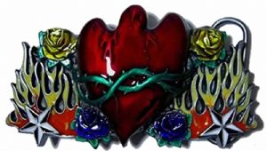 Weeping Heart in Flames, Barbed Wire and Wild Roses Belt Buckle including display stand. Code SB2